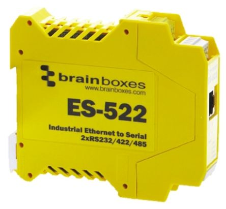 Brainboxes ES-522 Industrial Interface Converter Ethernet To Serial Device Server for use with RS232 Network, RS422/485