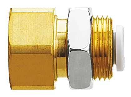 Pneumatic Bulkhead Threaded-to-Tube Adapter, Push In 8 mm, Rc 1/8 Female BSPPx8mm product photo