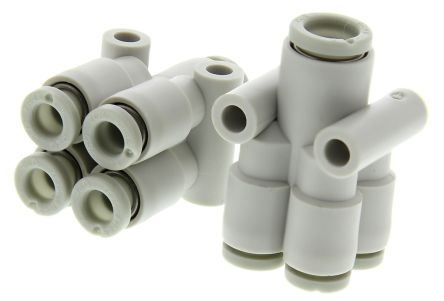 Pneumatic Double Y Tube-to-Tube Adapter, Connection A 6mm, B 6mm, C 6mm, D 6mm 8mm