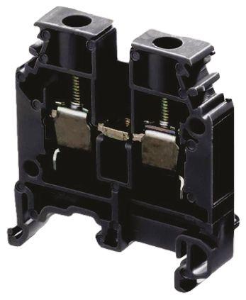 Entrelec Standard Din Rail Terminal, SNA Series , 6mm², 1 kV ac, 41A, Screw Termination, Black, Single Level