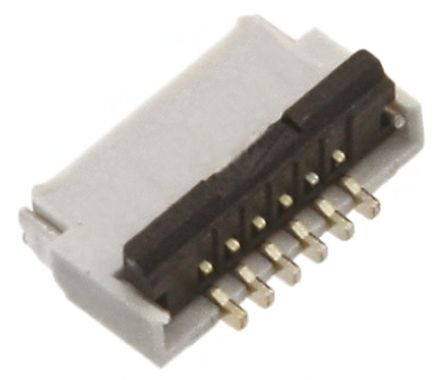 Hirose FH34S 0.5mm Pitch 6 Way Right Angle SMT Female FPC Connector, ZIF Top and Bottom Contact