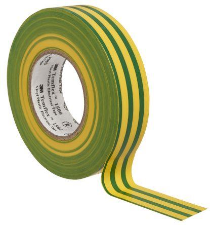 3M Temflex 1500 Green/Yellow Electrical Tape, 19mm x 20m
