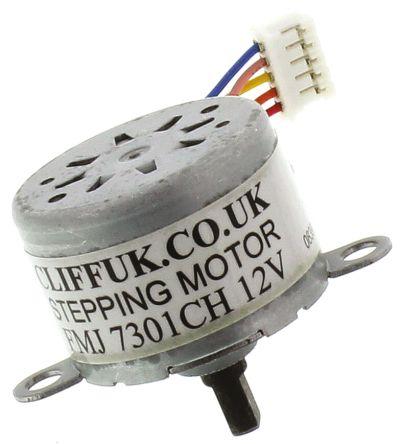 Cliff Electronics Unipolar Bipolar, Unipolar Stepper Motor 5.625 °, 11.25 °, 40mNm, 12 V, 32 mA, 5 Wires