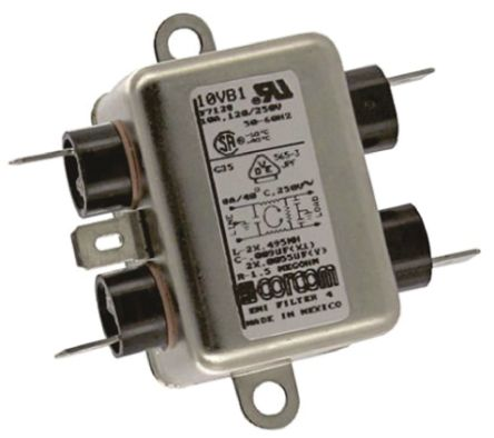 10VB1 Powerline Filter 66.3mm Length,, 10 A, 250 V ac product photo