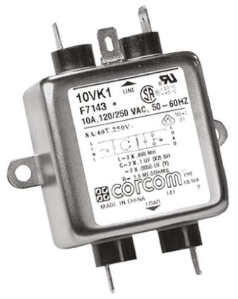 10VK1 Powerline Filter, 10 A, 250 V ac product photo