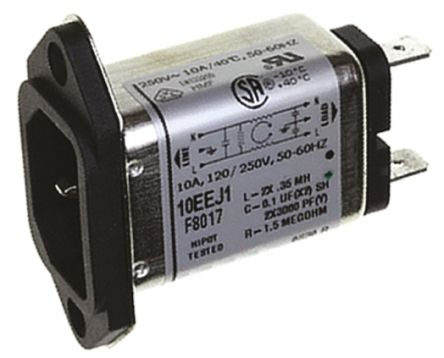 10EEJ1 Powerline Filter 54.61mm Length,, 10 A, 250 V ac product photo