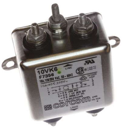 10VK6 Powerline Filter 2.81in Length,, 10 A, 250 V ac product photo