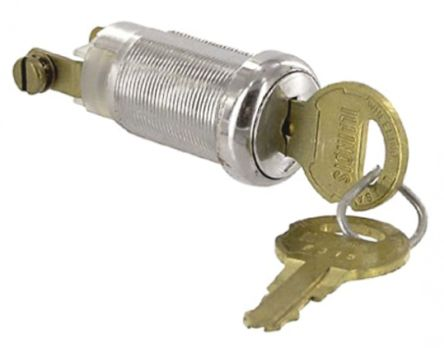 Keylock Switch, Single Pole Single Throw (SPST), 1 A @ 120 V ac 2-Way product photo