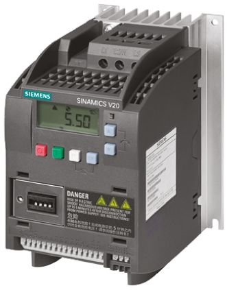 Siemens SINAMICS V20 Inverter Drive 2.2 kW with EMC Filter, 3-Phase In, 400 V ac, 0 → 550Hz Out, ModBus RTU