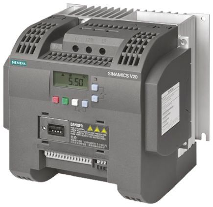 Siemens SINAMICS V20 Inverter Drive 3 kW, 1-Phase In, 230 V ac, 0 → 550Hz Out, ModBus RTU, IP20