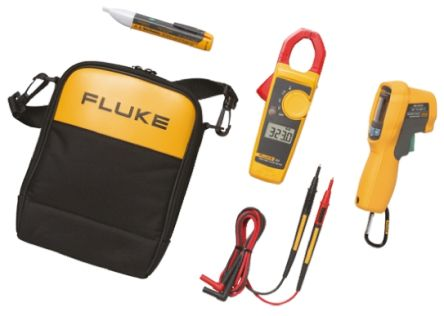 Fluke Thermometer Kit 1 AC II Volt Alert, True-rms Clamp meter, -30 → +650 °C With RS Calibration