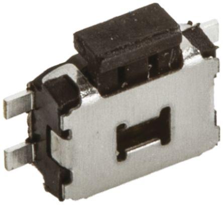 Commutateur tactile, Unipolaire à une direction (1NO), Verrouillable, 50 mA @ 12 V c.c., Noir, Montage en surface