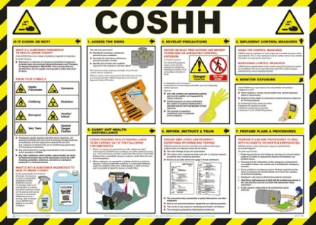 RS PRO COSHH Safety Guidance Safety Poster, Semi Rigid Laminate, English, 420 mm, 590mm