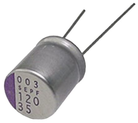 Panasonic 330μF Polymer Capacitor 25V dc Through Hole - 25SEPF330M