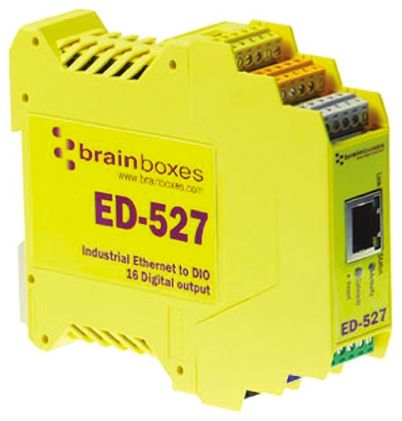 Brainboxes Ethernet Media Converter for use with Ethernet Network Digital In, 16 x Digital out RS-485, RS-422