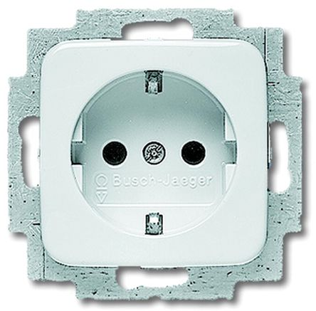 Busch Jaeger - ABB 1 Gang Thermoplastic Electrical Socket, Type F - German Schuko, 16A, Flush Mount