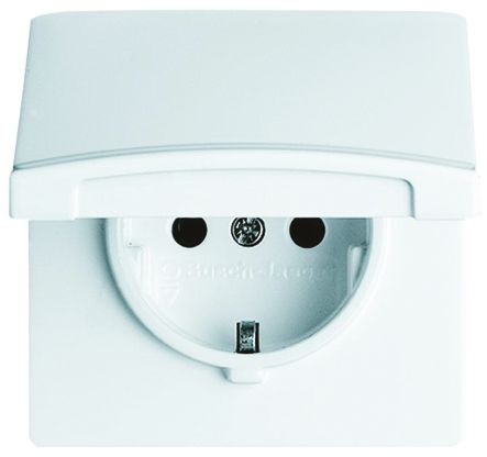 Busch Jaeger - ABB 1 Gang Thermoplastic Electrical Socket, Type F - German Schuko, 16A, Flush Mount, IP44