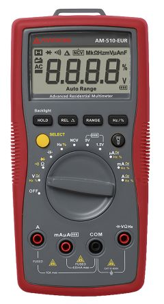 Amprobe AM-510-EUR Handheld Digital Multimeter, 10A ac 600V ac 10A dc 600V dc