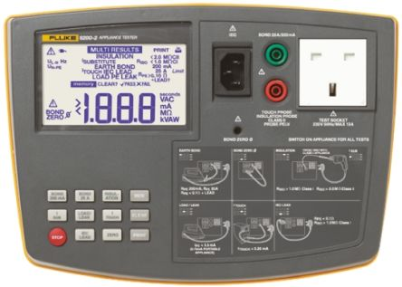 Fluke Pass/Fail PAT 6200 Portable Appliance Tester PAT, Class I, Class II Test Type With UKAS Calibration