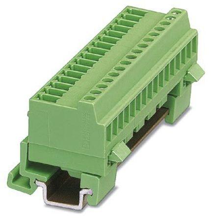 Phoenix Contact MCVK 1 5/16-G-3 81 Non-Fused Terminal Block, 16 Way/Pole,  Screw Terminals, 30 → 14 AWG DIN Rail