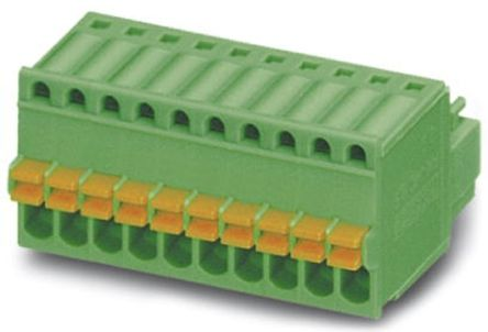 Phoenix Contact MICRO COMBICON FK-MC Series 2.5mm Pitch Straight Pluggable Terminal Block, Plug, Cable Mount, 7 Way