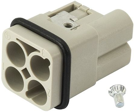 Han-Modular Series Cable Mount Connector Insert, Male, 3/0 Way, 40A, 400 V