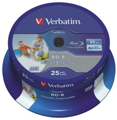 Verbatim 25 GB BD-R 6X Blu-ray Disc, 25 Pack