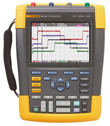 Fluke 190 Series 190 ScopeMeter Digital Oscilloscope, Handheld, 4 Channels, 500MHz