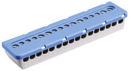Entrelec MISTRAL65 Non-Fused Terminal Block, 16 Way/Pole, Screw Terminals, 6 mm², 16 mm² Clip Mount, Nylon