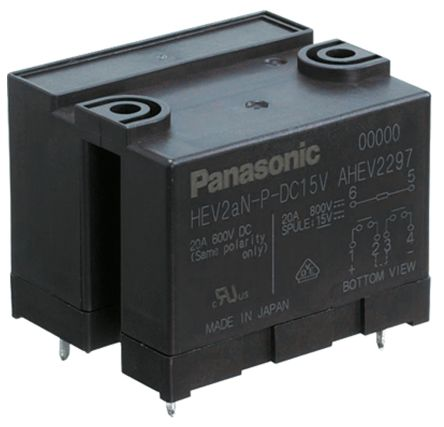 Panasonic PCB Mount Non-Latching Relay - DPNO, 9V dc Coil, 20A Switching Current