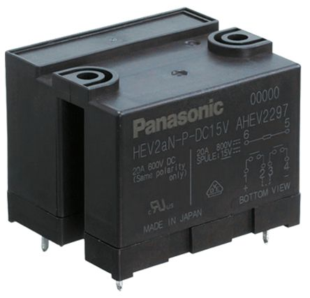 Panasonic PCB Mount Non-Latching Relay - DPNO, 12V dc Coil, 20A Switching Current