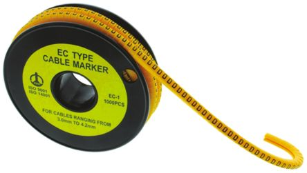 Slide On Cable Marker, Pre-printed E Black on Yellow 3.6 -> 7.4mm Dia. Range product photo