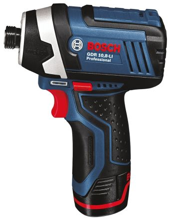 Bosch 10.8V Cordless Impact Drill, 1/4in Hex Chuck, 2Ah Battery Capacity, UK Plug