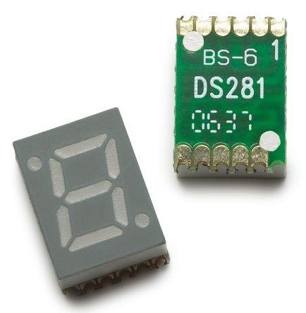HDSM-281C Broadcom 7-Segment LED Display, CA Red 7.5 mcd RH DP 7mm