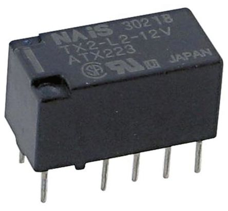 TX2L212V Panasonic DPDT PCB Mount Latching Relay 2 A 12V dc For