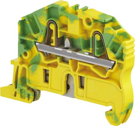 Entrelec Standard Din Rail Terminal, ZK2.5 Series , 2.5mm², Spring Clamp Termination, Green, Yellow, Single Level