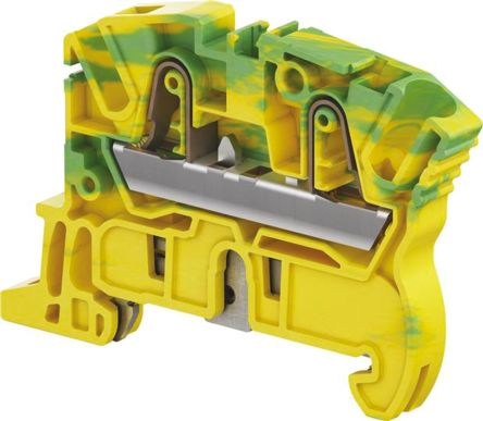 Entrelec Standard Din Rail Terminal, ZK4 Series , 4mm², Spring Clamp Termination, Green, Yellow, Single Level