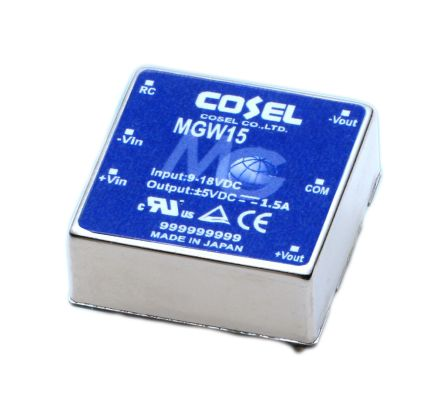 Cosel 15W Isolated DC-DC Converter Through Hole, Voltage in 18 → 36 V dc, Voltage out ±5V dc