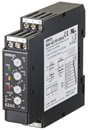 Omron Current Monitoring Relay with SPDT Contacts, 1 Phase, 100 → 240 V ac