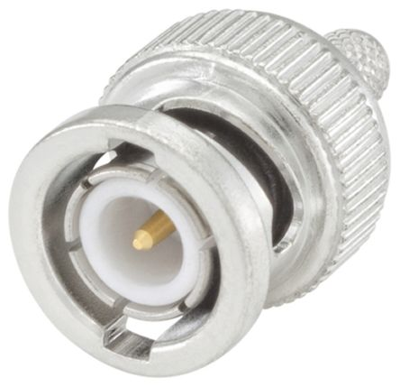 BNC Series Straight 50O Cable Mount BNC Connector, Plug, Flash White Bronze, Crimp Termination product photo