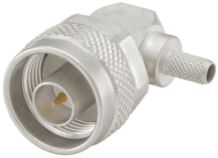 50O Right Angle Cable Mount N Type Connector, Plug, Crimp, Solder Termination, 0 -> 11GHz, Flexible product photo