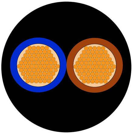 RS Pro H07RN-F, CPE Kabel schwarz, 2 x 1 mm² / AWG 17, 450/750 V ac ...