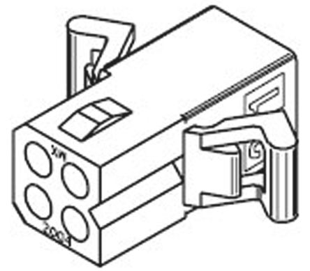 "03-06-1044 - Female Connector Housing - STANDARD .062"", 3.68mm Pitch, 4 Way, 1 Row product photo"