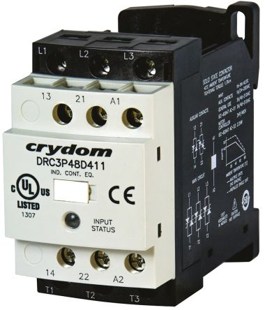 Solid State Contactor, 3P, 24 V ac/dc, 7.6A , DIN Rail Mount, Screw Terminal Type