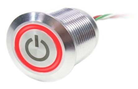 Push Button Touch Switch, Latching, NC ,Illuminated, Green, Red, IP68 Brass, 5  30V dc