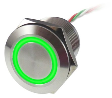 Push Button Touch Switch, Latching, NC ,Illuminated, Green, IP68 Brass, 5  30V dc