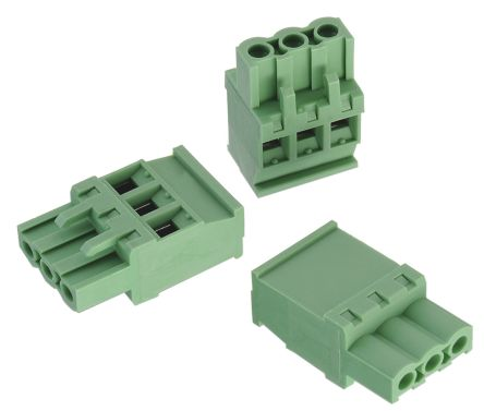 Wurth Elektronik Bloques Terminales Enchufables, Paso5mm 3 Contacto Hembra Recta Macho, Montaje: Montaje De Cable, Verde, 691351700003
