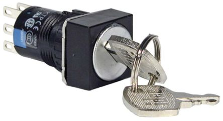 IP40, IP65 Key Switch, Double Pole Double Throw (DPDT), 1 A 2-Way product photo