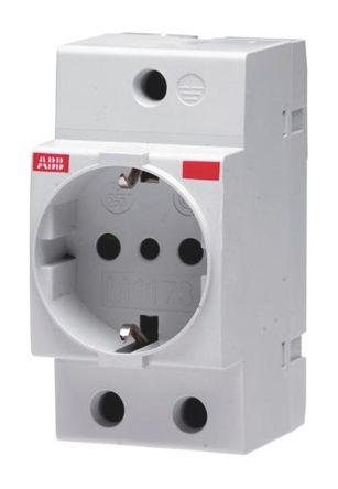 ABB 1 Gang Electrical Socket, Type L - Italian, 16A, DIN Rail Mount, IP20, IP30