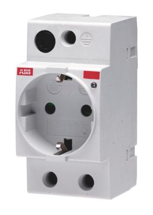 ABB 1 Gang Unswitched Electrical Socket, Type F - German Schuko, 16A, DIN Rail Mount, IP20, IP30